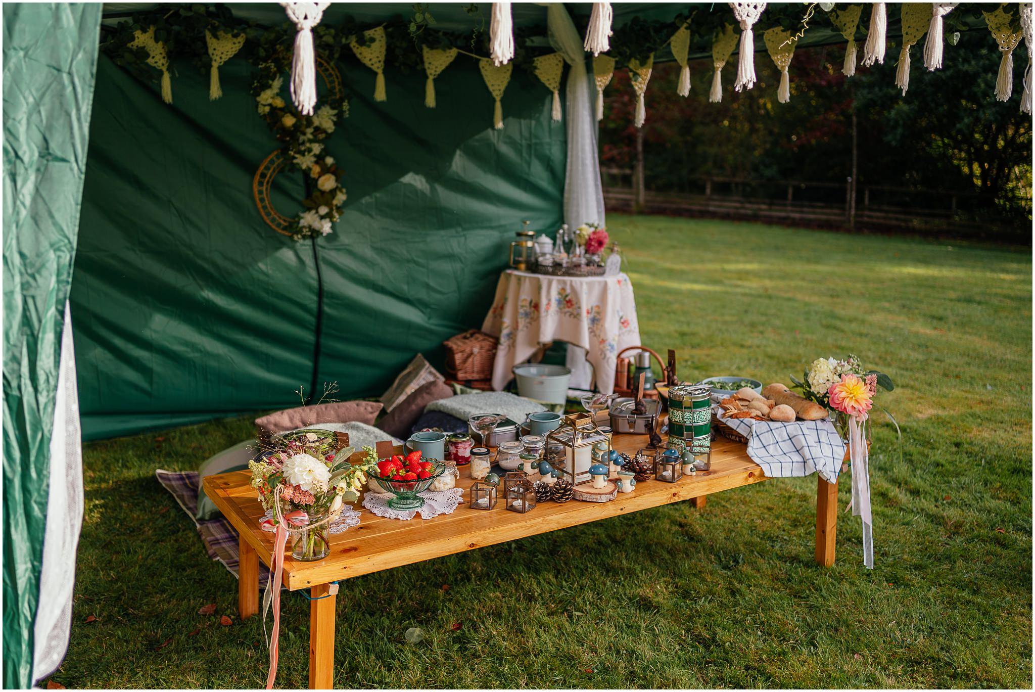 luxury wild outdoor picnic wedding reception scotland micro wedding