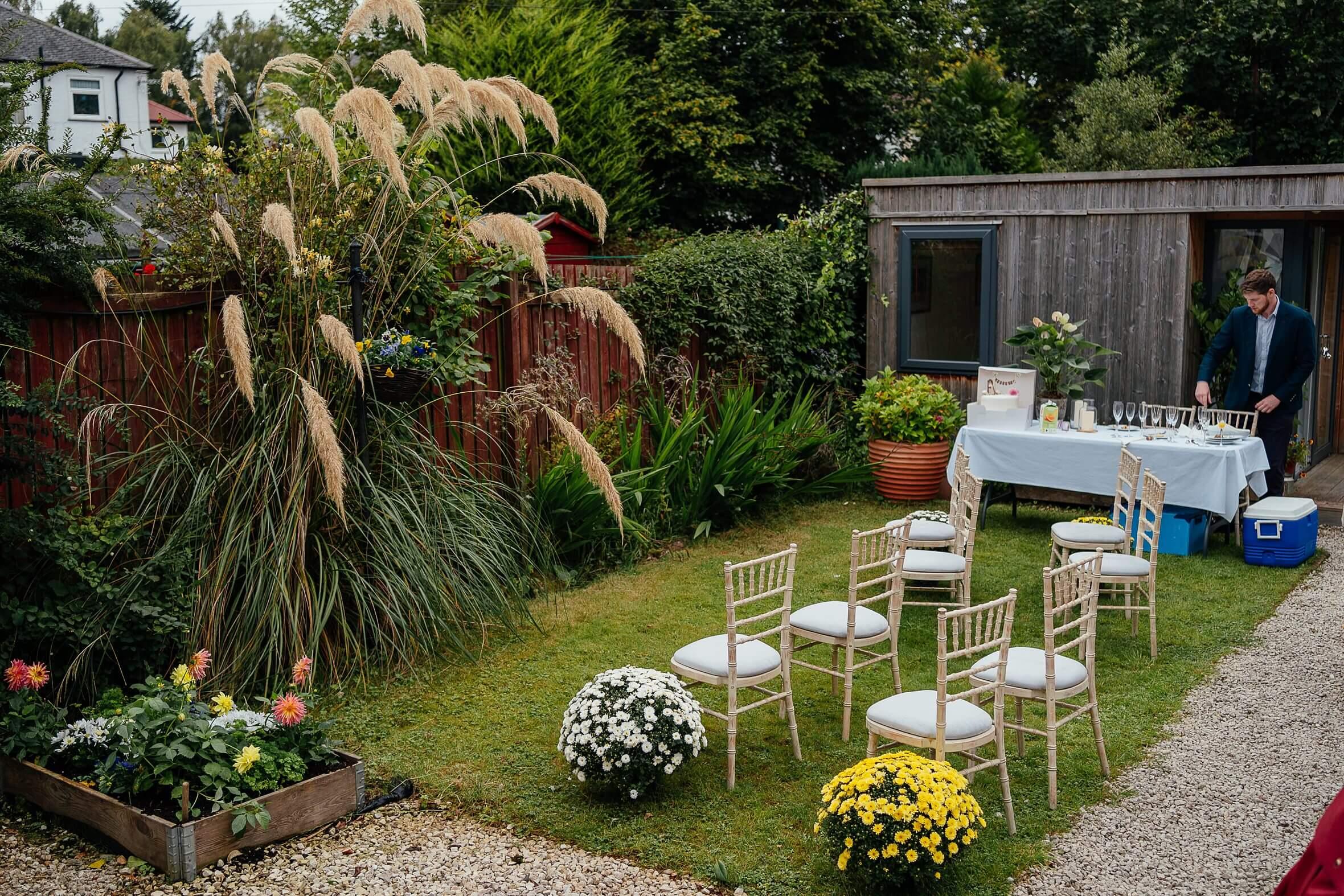 micro wedding scotland back garden wedding ceremony set up
