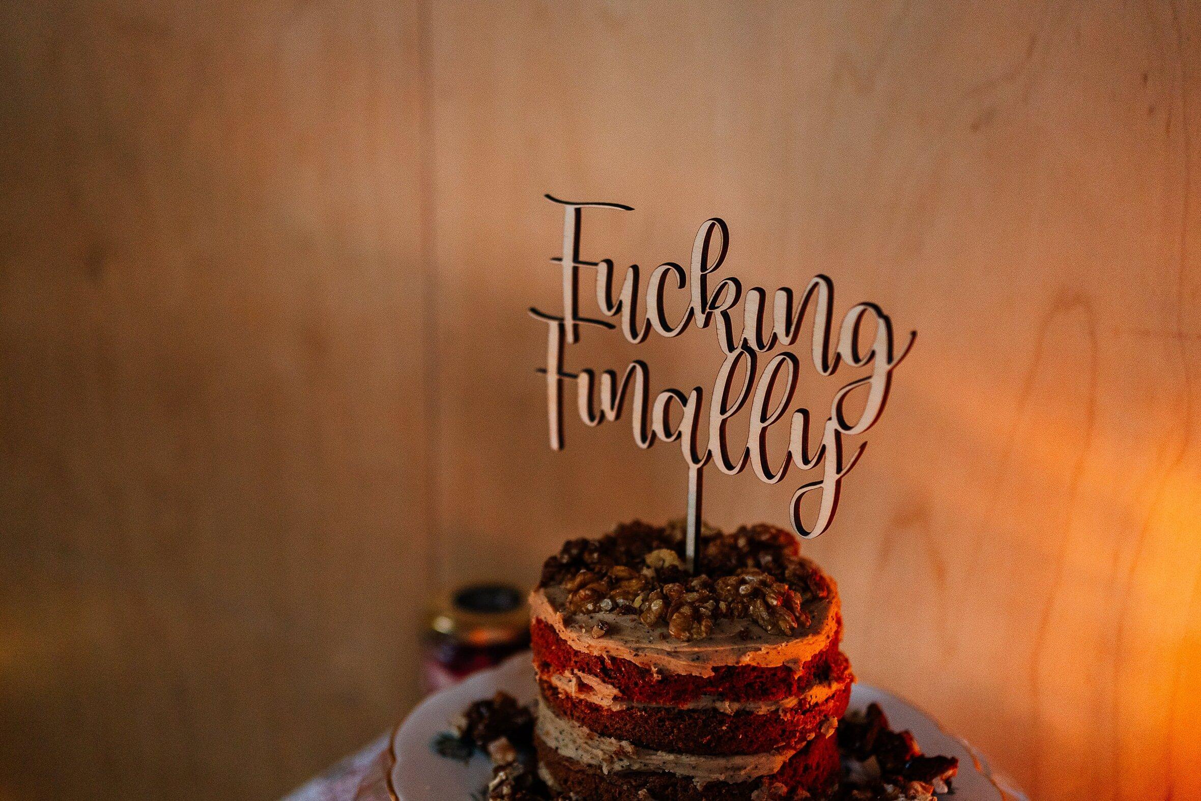 fucking finally cake topper for micro wedding scotland