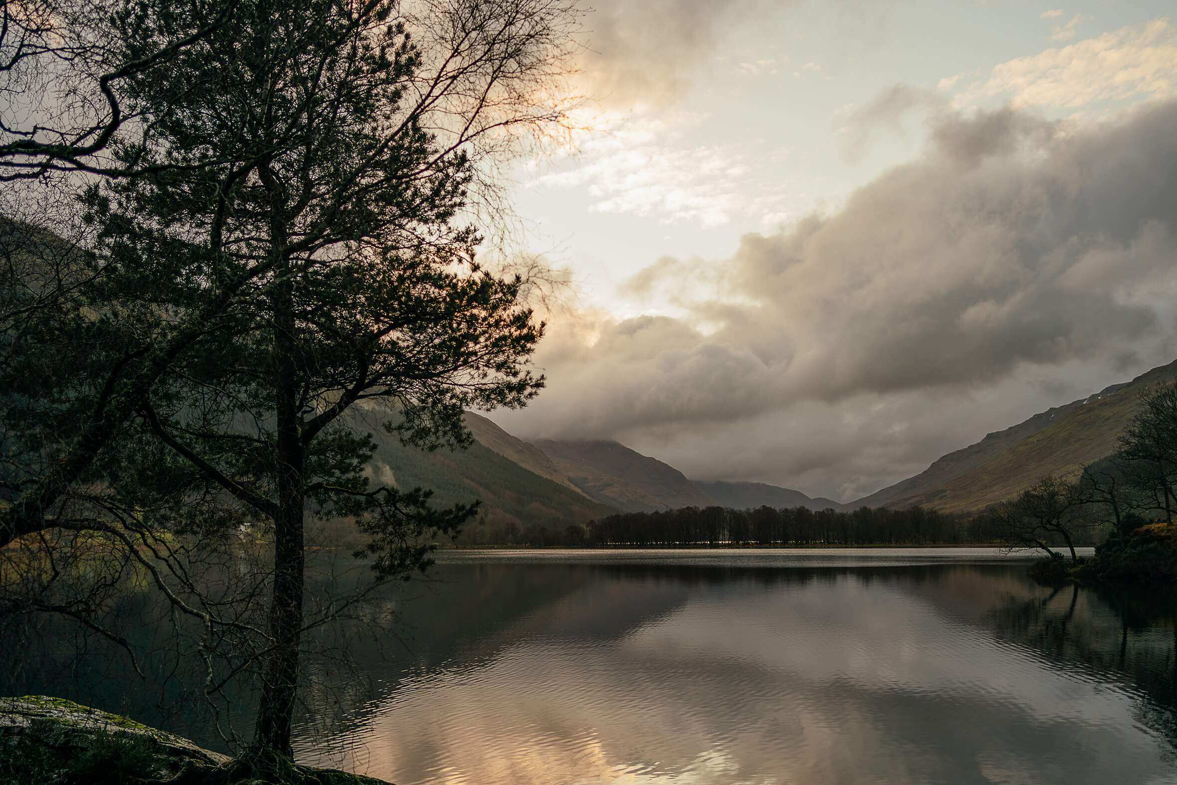 monachyle mhor micro wedding scotland view across loch voil leaving hotel sunset December scottish landscape